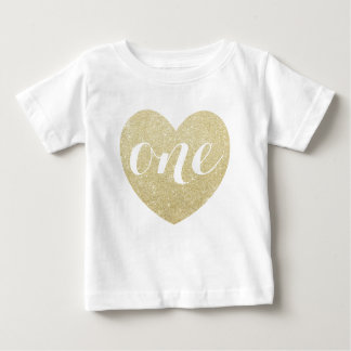 1st Birthday Baby Girl Glitter heart-Print Baby T-Shirt