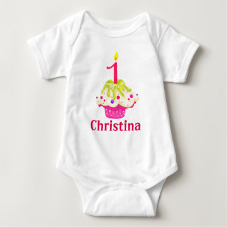 1st Birthday Baby Girl Pink Cake Personalize Baby Bodysuit