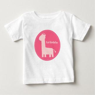 1st Birthday - Baby Girl Pink Giraffe Silhouette Baby T-Shirt
