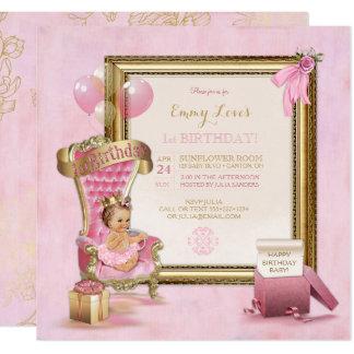 Princess baby girl 1st birthday invitations announcements 1st birthday baby girl princess throne gold pink card stopboris Images