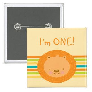1st Birthday Baby Lion Button