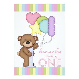 "1st Birthday Bear Rainbow Stripes and Balloons 5"" X 7"" Invitation Card"