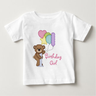 1st Birthday Bear with Balloons Birthday Girl T Shirt
