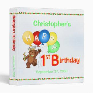 1st Birthday Bears Memory Album 1 Inch Vinyl Binders