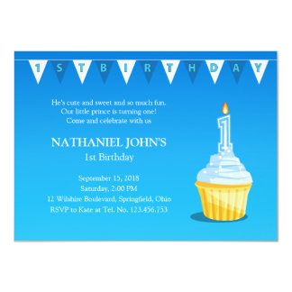 1st Birthday Blue Cupcake Party - Baby Boy Card