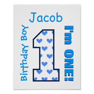 1st Birthday Boy Blue Hearts One Year Old B01Z Poster