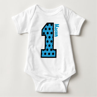 1st Birthday Boy Blue Polka Dots One Year Old N002 Baby Bodysuit