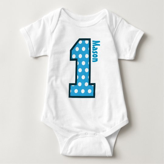 1st Birthday Boy Blue Polka Dots One Year Old N003 Baby Bodysuit