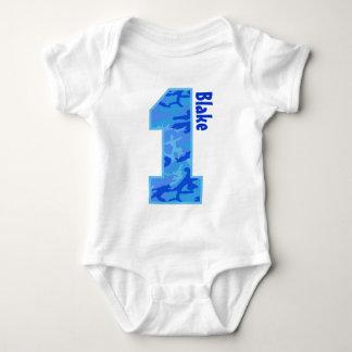 1st Birthday Boy Camo One Year Old with Name V07NE Baby Bodysuit