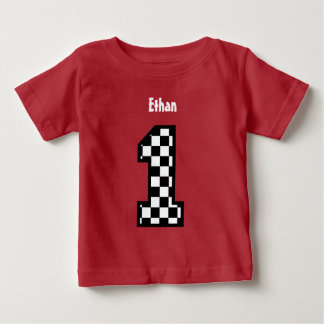 1st Birthday Boy Checked Number Custom Name A07 Baby T-Shirt