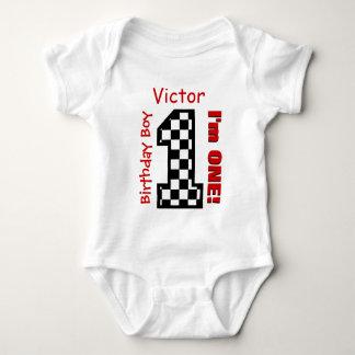 1st Birthday Boy CHECKS Year Custom Name V04 Baby Bodysuit