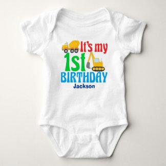 1st Birthday Boy Construction Vehicle Party Baby Bodysuit