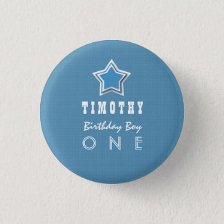 1st Birthday Boy One Year Old Blue White Star D03 1 Inch Round Button