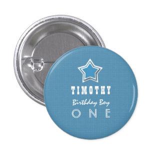 1st Birthday Boy One Year Old Blue White Star D03 1 Inch Round Button