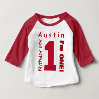 1st Birthday Boy One Year White Red Number V01R Baby T-Shirt