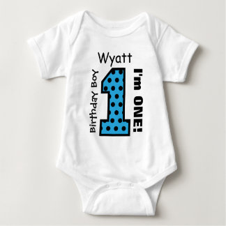 1st Birthday Boy POLKA DOTS 1 Year Custom Name V11 Baby Bodysuit
