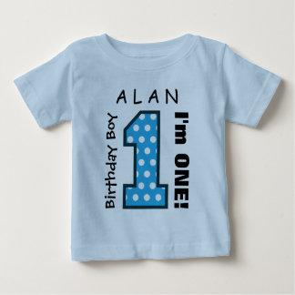 1st Birthday Boy POLKA DOTS One Year Custom Name 1 Baby T-Shirt