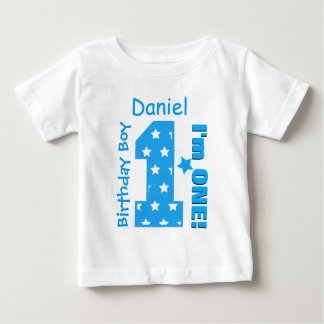 1st Birthday Boy Stars One Year Custom Name V006B Baby T-Shirt