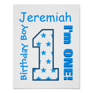 1st Birthday Boy Stars One Year Custom Name V006D Poster