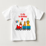 1st Birthday Boy Zoo Safari Animals Lion Monkey T-shirt