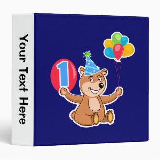 1st Birthday Brown Bear Balloons Binder