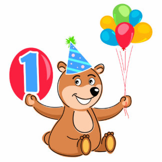 1st Birthday Brown Bear Balloons Photo Cut Out