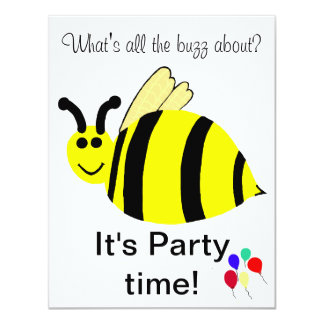 1st Birthday Bumble Bee Balloons Invitation