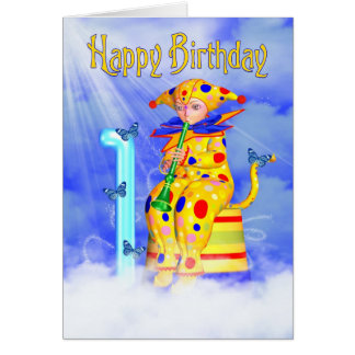 1st Birthday Card - Cute Little Pixie Clown