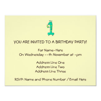 "1st Birthday Cartoon. Green. 4.25"" X 5.5"" Invitation Card"