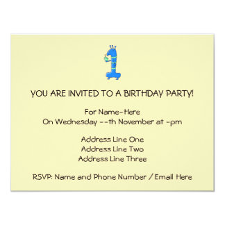 "1st birthday cartoon, in blue and green. 4.25"" x 5.5"" invitation card"