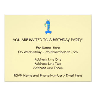 1st birthday cartoon in blue and green invites