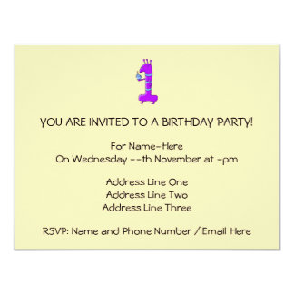 "1st Birthday. Cartoon in Purple. 4.25"" X 5.5"" Invitation Card"