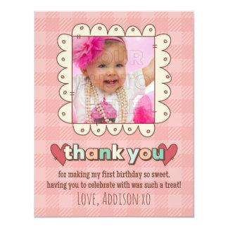 "1st Birthday Cupcakes Thank You Card 4.25"" X 5.5"" Invitation Card"