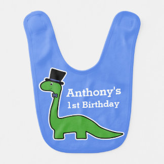 1st Birthday Cute and Green Dinosaur with Top Hat Bib