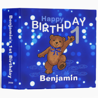 1st Birthday Dancing Teddy Bear Memories 2 Inch Vinyl Binder