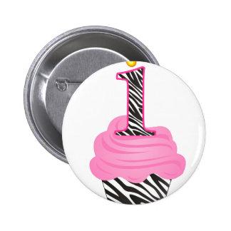 1st Birthday Diva Cupcake 2 Inch Round Button