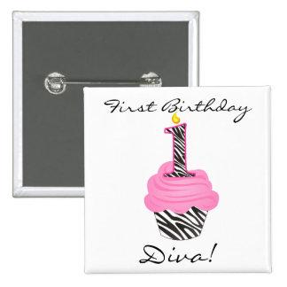 1st Birthday Diva Cupcake 2 Inch Square Button