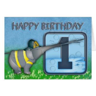 1st Birthday - Elephant Fireman Birthday Card