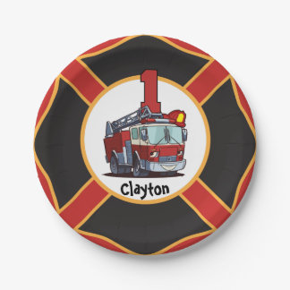 1st Birthday Fire Truck 7 Inch Paper Plate