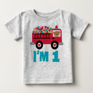 1st Birthday Fire Truck Fireman Boys T-shirt