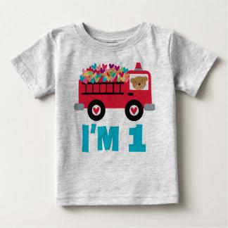 1st Birthday Fire Truck Fireman Boys T-shirt