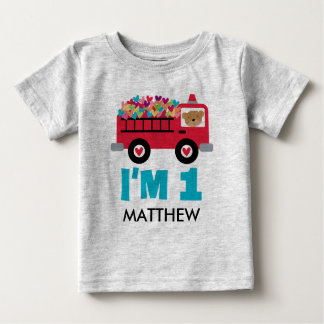 1st Birthday Fire Truck Fireman Custom T-shirt