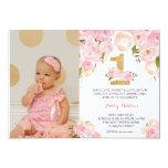 "1ST birthday  FIRST Beautiful Floral Invitation, 5"" X 7"" Invitation Card"