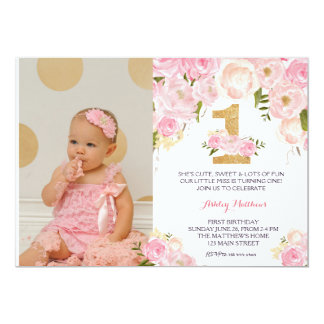 "1ST birthday  FIRST Beautiful Floral Invitation, 5"" X 7"" Invitation Card"