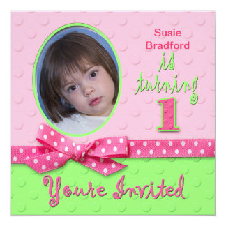 """1ST BIRTHDAY FOR GIRL - PHOTO INSERT - PINK 5.25"""" SQUARE INVITATION CARD"""