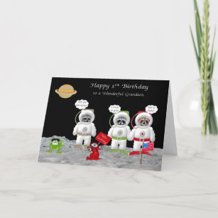 1st Birthday For Grandson Greeting Cards