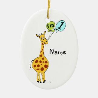 1st Birthday Giraffe with Balloons Ceramic Ornament