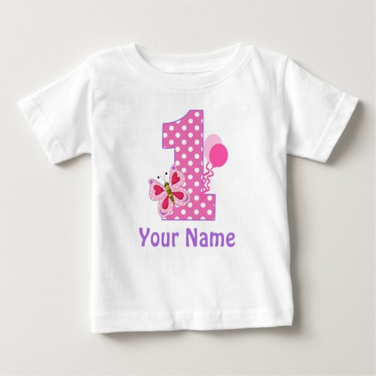 1st Birthday Girl Butterfly Personalized T Shirt