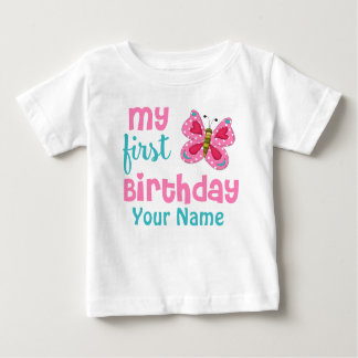 1st Birthday Girl Butterfly Pink Personalized T-shirts