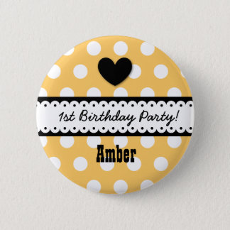 1st Birthday Girl Heart and Scalloped Ribbon v2G 2 Inch Round Button